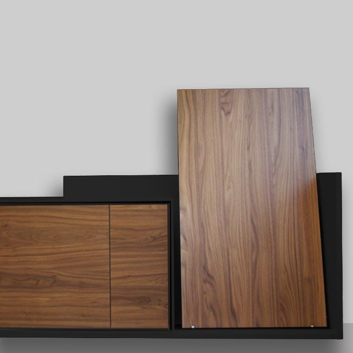 Walnut doors and black cabinet