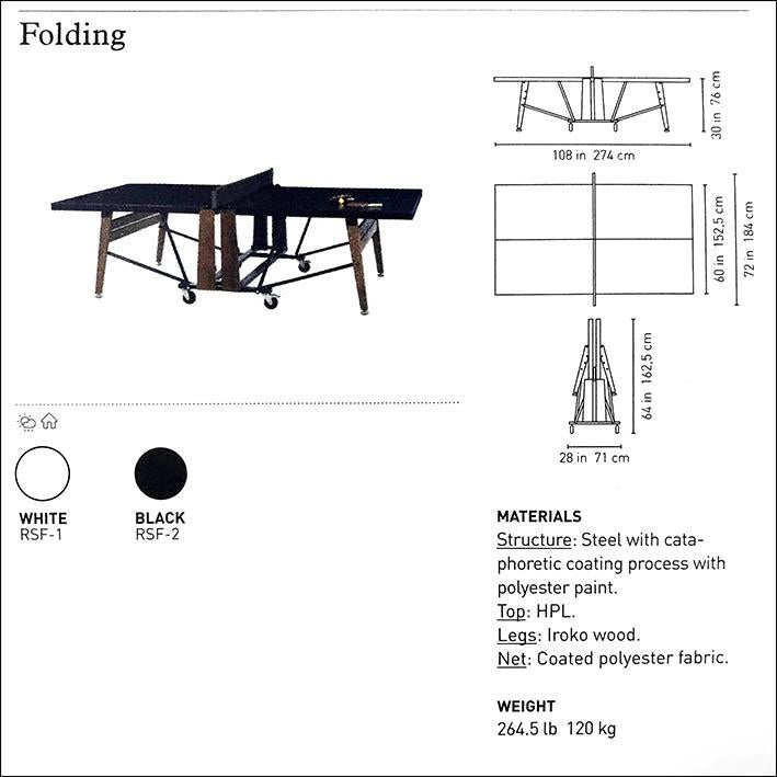 Folding Tournament Size Table Tennis in Black
