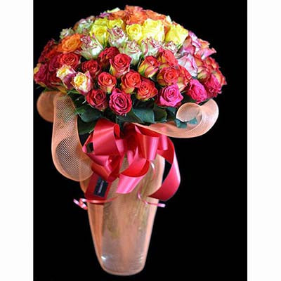 100 colorful long stem roses congratulations flowers