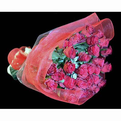 30 long stemmed red roses bouquet