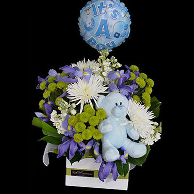 Baby boy blue flowers teddy bear balloon gift package
