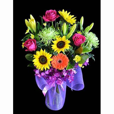 Bright cheerful colorful flowers vase