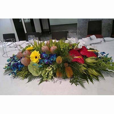Bright red green anthuriums yelllow gerberas blue orchids long low centerpiece
