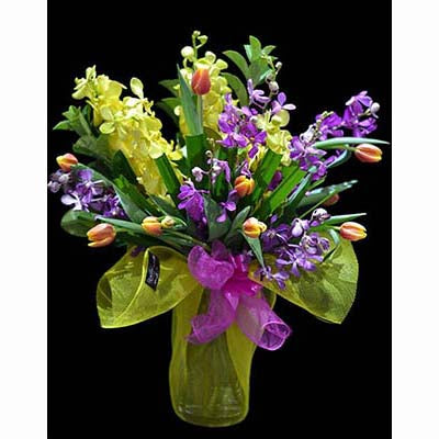 Flower bouquet orange tulips purple Singapore orchids