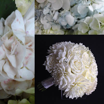 Hydrangeas white roses bridal posy bouquet