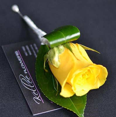 Melbourne Cup Day yellow rose buttonhole