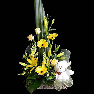 New baby gift basket yellow gerberas roses