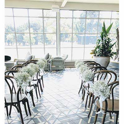 Wedding reception flower chair decorations Greenfields Albert Park