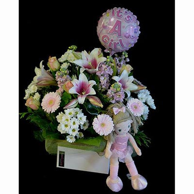 pink and white flowers baby girl balloon package