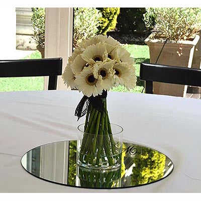 white gerberas wedding centerpiece