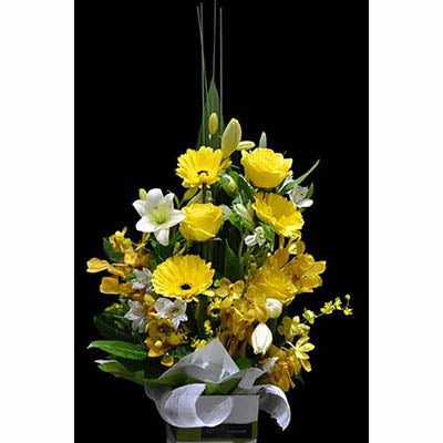 yellow flowers gift box