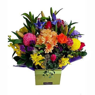 Bright colorful boxed flowers arrangment