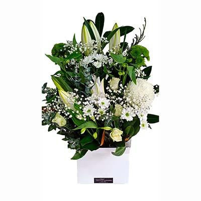 Classic white flowers box arrangement