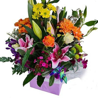 Colorful flowers box arrangement gift