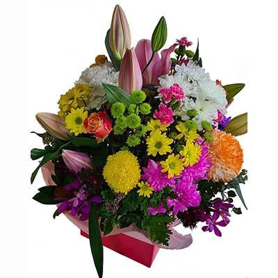 Colorful flowers gift box