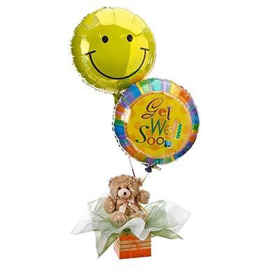 Gift box teddy bear get well soon helium balloons