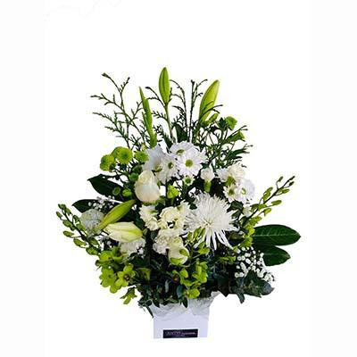 Gift box white flower arrangement