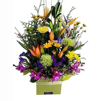 Large colorful flower modern arrangement gift box