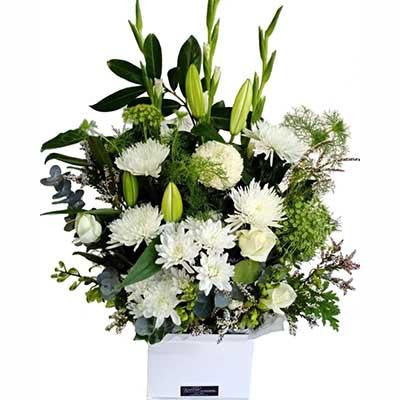 Large gift box white flowers