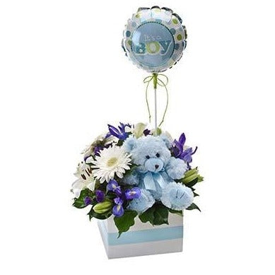 New baby boy blue flowers teddy bear package