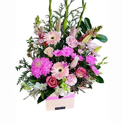 Pastel pink bright flowers gift box