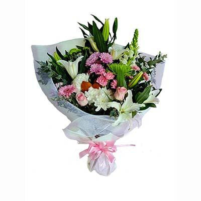 Pink white flowers bouquet
