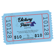 American Saddlebred Museum Victory Pass Raffle Script Logo with Horse and Flowing Ribbons on Light Blue Ticket
