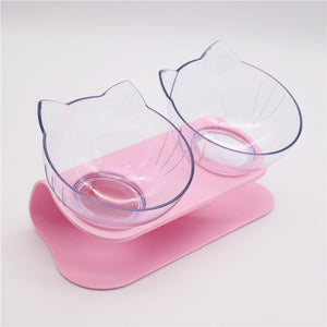 Anti-Vomiting Orthopedic Cat Bowl Explosive Cat Double Bowl Cat Bowl Dog Bowl Transparent AS Material Antidérapant Food Bow