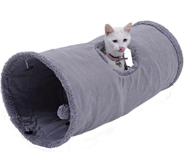 Big Long Cats Tunnel Toys avec Play Ball Pure Color Suede Material Kitten S / M Pliable Pet Supplies Funny Cat Tunnel Steel Frame