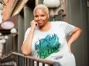 PRAY & BELIEVE-Premium Women's Curvy T-Shirt