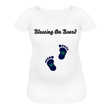 Load image into Gallery viewer, Blessing On Board-Premium Women's Maternity T-Shirt - white