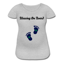 Load image into Gallery viewer, Blessing On Board-Premium Women's Maternity T-Shirt - heather gray