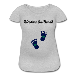 Blessing On Board-Premium Women's Maternity T-Shirt - heather gray