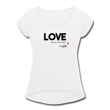 Load image into Gallery viewer, LOVE MK12:30-31-Women's Roll Cuff T-Shirt - white