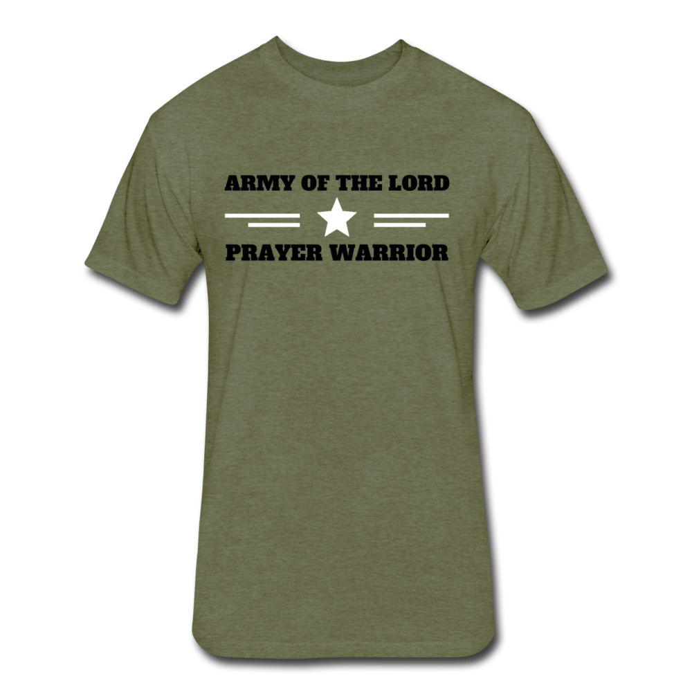 ARMY OF THE LORD-MEN'S PREMIUM Fitted Cotton/Poly T-Shirt by Next Level - heather military green