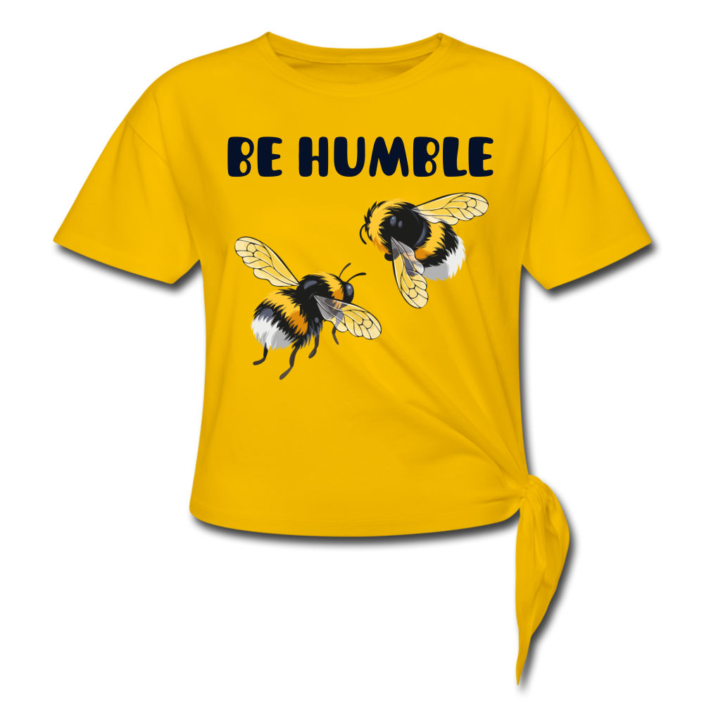 BE HUMBLE-Premium Women's Knotted T-Shirt - sun yellow