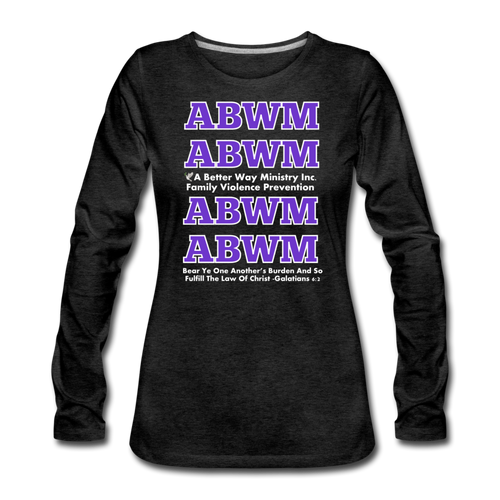 ABWM-Women's Premium Long Sleeve FUNRAISING T-Shirt - charcoal gray