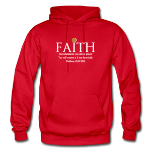 FAITH- Heavy Blend Adult Hoodie - red