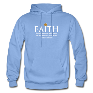 FAITH- Heavy Blend Adult Hoodie - carolina blue