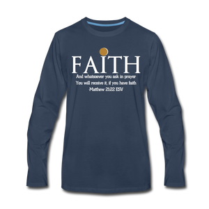 FAITH-WT-Men's Premium Long Sleeve T-Shirt - navy