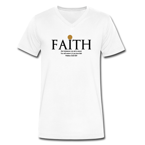 Faith-Blk-Men's V-Neck T-Shirt - white