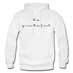 BE GRATEFUL- WOMEN'S Heavy Blend Adult Hoodie - white
