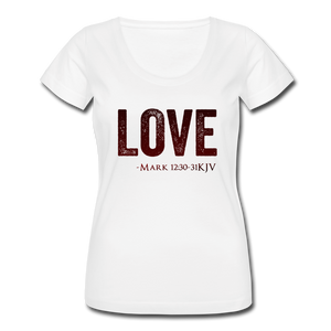 LOVE-Women's Scoop Neck T-Shirt - white