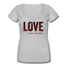 Load image into Gallery viewer, LOVE-Women's Scoop Neck T-Shirt - heather gray