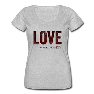 LOVE-Women's Scoop Neck T-Shirt - heather gray