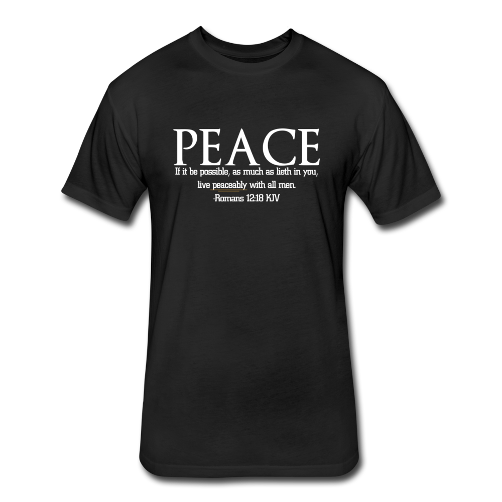 PEACE-Fitted Cotton/Poly T-Shirt by Next Level - black