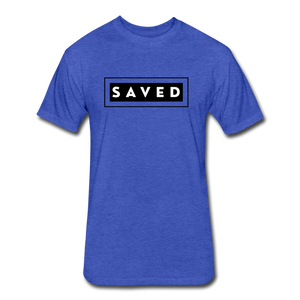 SAVED-MEN'S Fitted Cotton/Poly T-Shirt by Next Level - heather royal