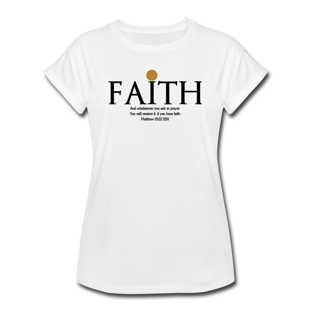 FAITH-Women's Relaxed Fit T-Shirt - white
