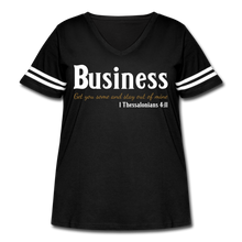 Load image into Gallery viewer, Business Premium Women's Curvy Vintage Sport T-Shirt - black/white