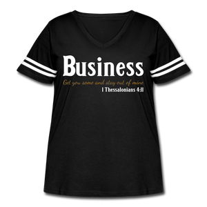 Business Premium Women's Curvy Vintage Sport T-Shirt - black/white